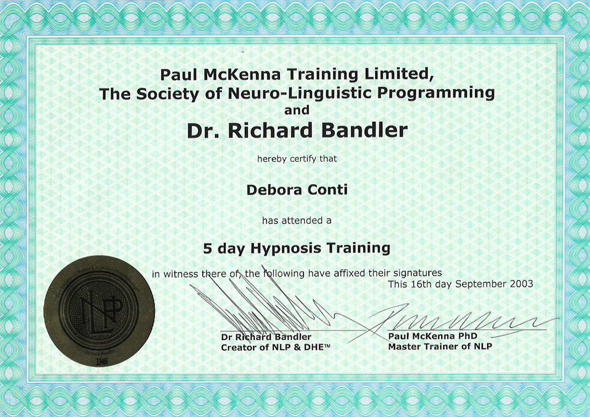 5 day Hypnosis Training - Paul McKenna Training Limited - Dr Richard Bandler - Debora Cont